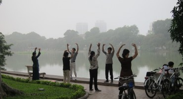 Morning Exercise at Hoan Kiem Lake – Hanoi, Vietnam